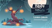 Happy Halloween Party Banner Pumpkins Hanging On Tree Traditional Decoration Holiday Greeting Card