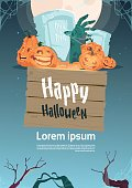 Happy Halloween Party Banner Pumpkins On Cemetery Traditional Decoration Holiday Greeting Card
