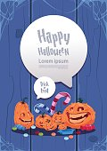 Happy Halloween Party Banner Pumpkins Traditional Decoration Holiday Greeting Card