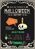 happy halloween party invitation card.