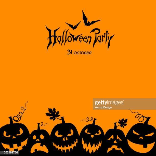 happy halloween party - jack o lantern stock illustrations, clip art, cartoons, & icons