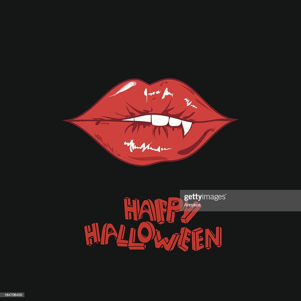 Happy Halloween poster with vampire lips