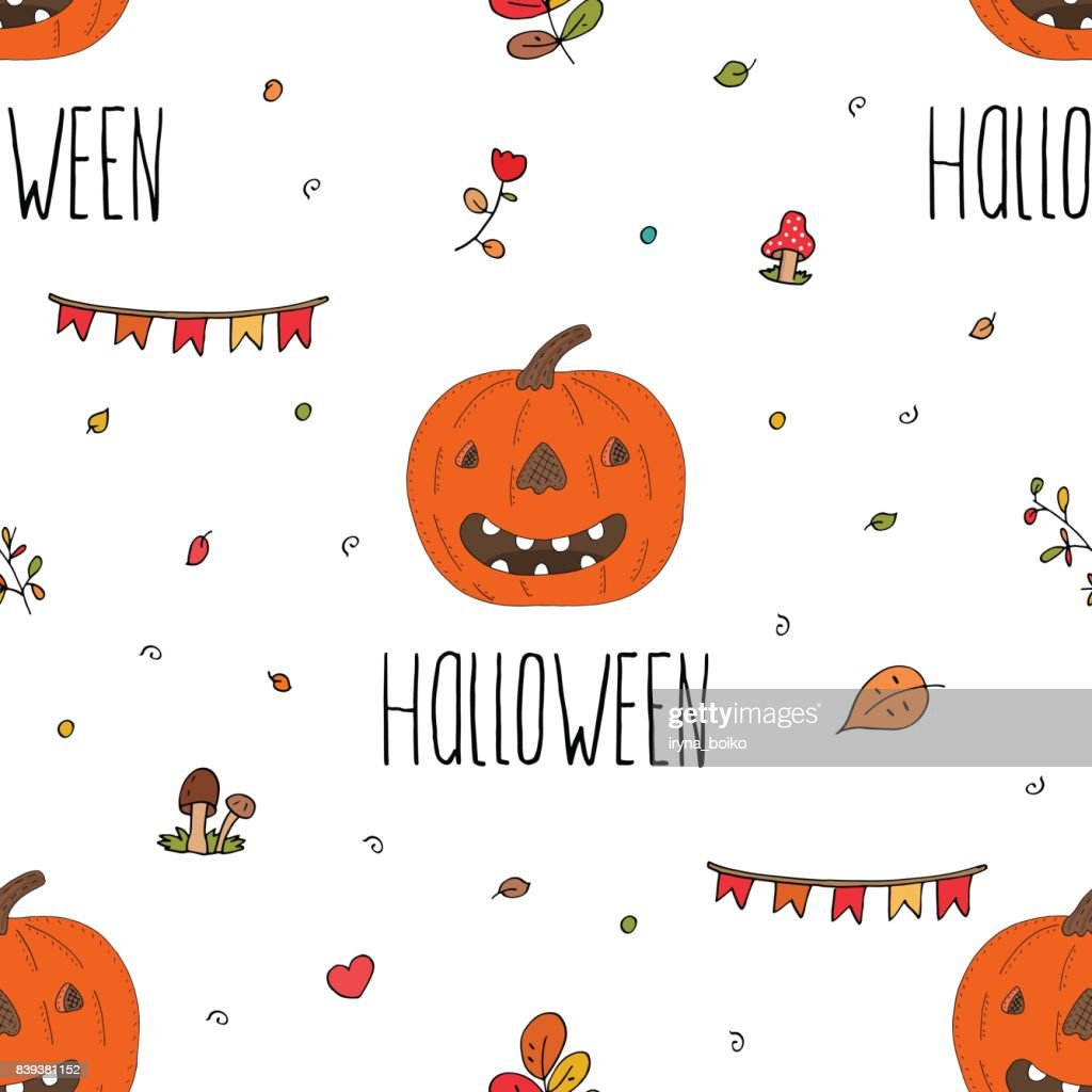 Happy Halloween Print With Pumpkin Printable Templates Vector Art