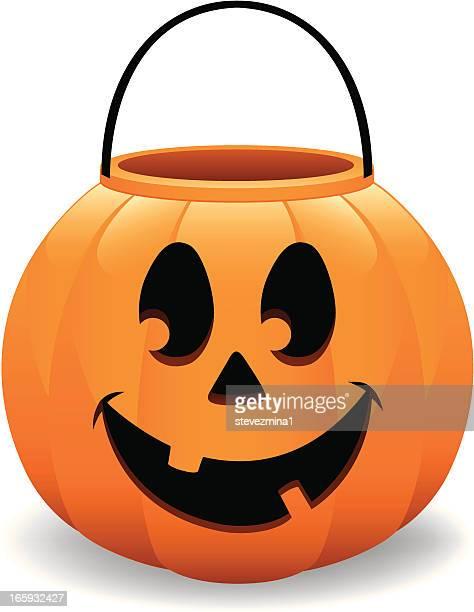 illustrations, cliparts, dessins animés et icônes de happy halloween pumpkin bucket jack o lanterne illustration vectorielle - seau