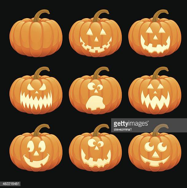 happy halloween pumpkin jack o' lantern vector illustration collection set - jack o lantern stock illustrations, clip art, cartoons, & icons