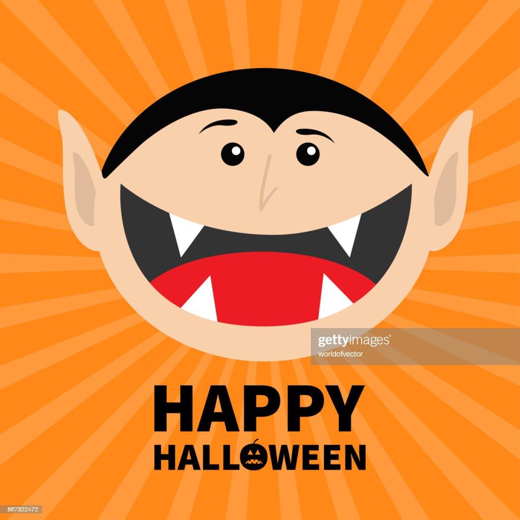 happy halloween k rbis text graf dracula kopf gesicht niedlichen cartoon vampir charakter mit. Black Bedroom Furniture Sets. Home Design Ideas