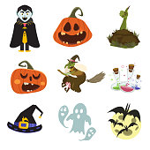 Happy Halloween scary elements collection. Vector holiday set of