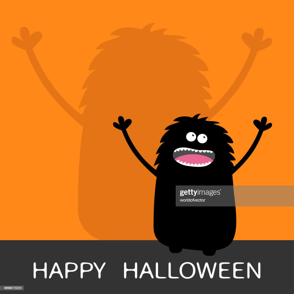 Happy Halloween. Screaming monster silhouette looking up. Wall shadow shade. Two eyes, teeth, tongue, spooky hands. Black Funny Cute cartoon baby character. Flat design. Orange background
