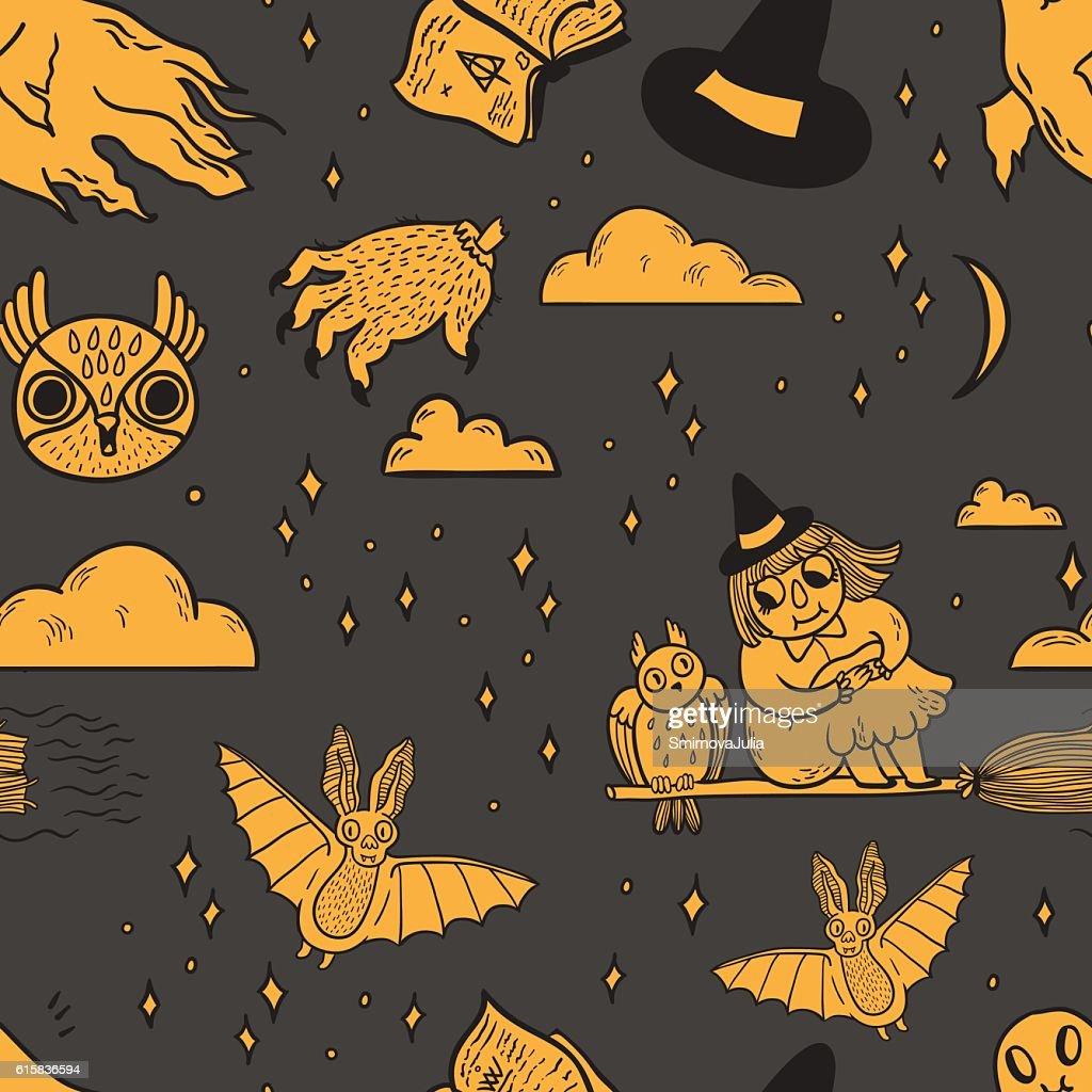 Happy Halloween seamless vector pattern