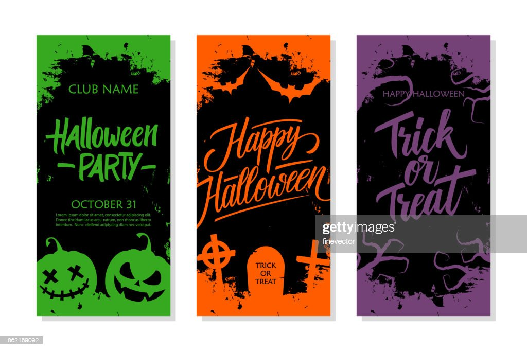 Happy Halloween set. Party invitation, greeting card and holiday flyer template with hand lettering, traditional symbols and brush stroke.
