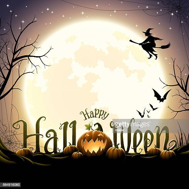 ilustraciones, imágenes clip art, dibujos animados e iconos de stock de happy halloween text with pumpkins - luna llena