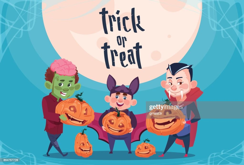 Happy Halloween Trick Or Treat Banner Cute Kids Monsters With Pumpkins Traditional Decoration Greeting Card