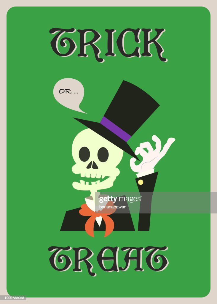 happy halloween vector greeting card with skeleton character.