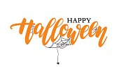 Happy Halloween vector lettering. Holiday calligraphy with spide