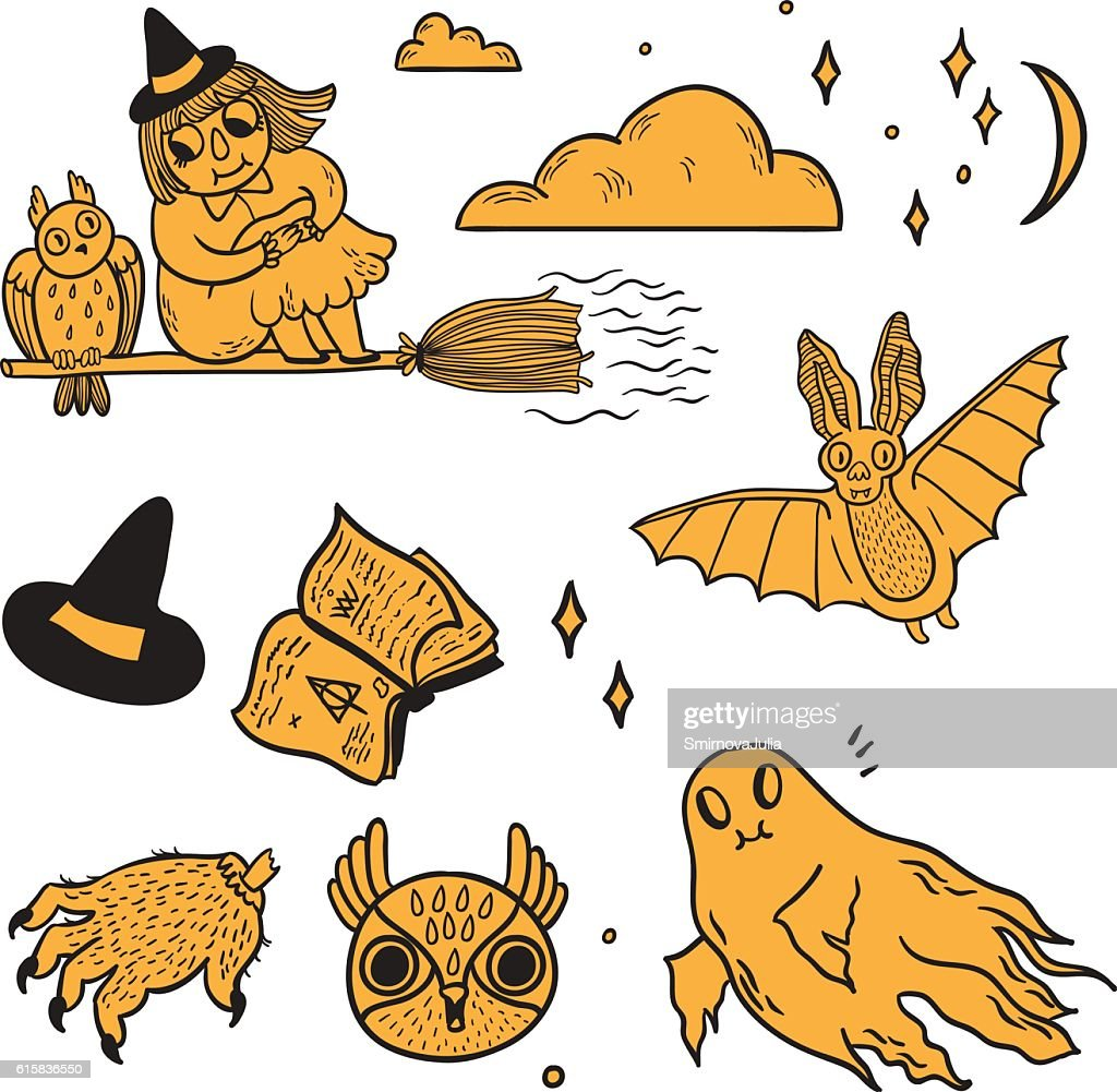 Happy Halloween vector set with hand drawn spooky cute objects.