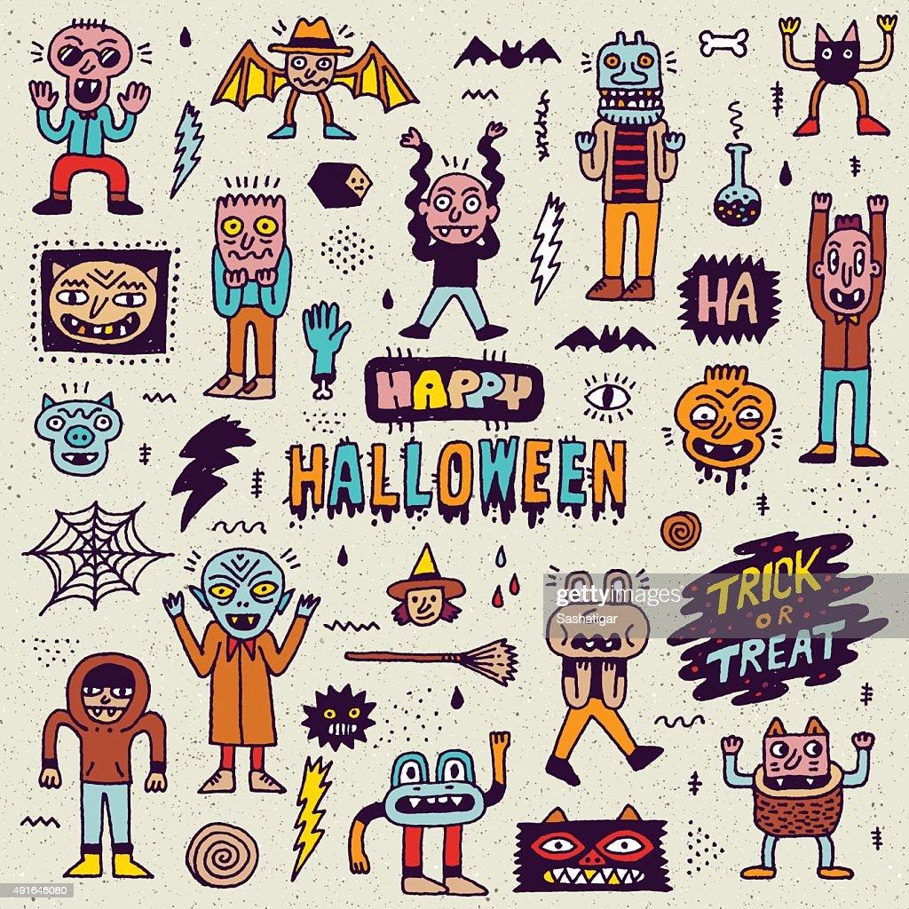 Happy Halloween. Wacky Cartoon Doodle Set 1.
