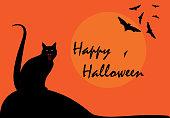 Happy Halloween with black cat and bat on orange