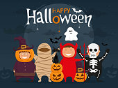 Happy halloween with kids in costumes. Mummy, ghost, skeleton, devil, pumpkin and black cat cartoon character. Vector illustration.