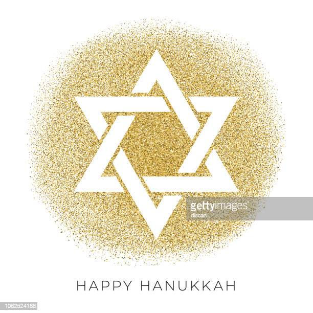 happy hannukkah card template with star of david on glitter background - hebrew script stock illustrations, clip art, cartoons, & icons