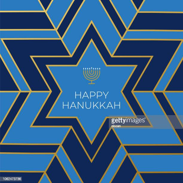 happy hannukkah card template with star on blue background - menorah stock illustrations