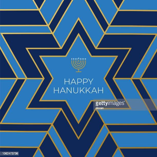 bildbanksillustrationer, clip art samt tecknat material och ikoner med glad hannukkah adresskortsmallen med stjärna på blå bakgrund - menorah