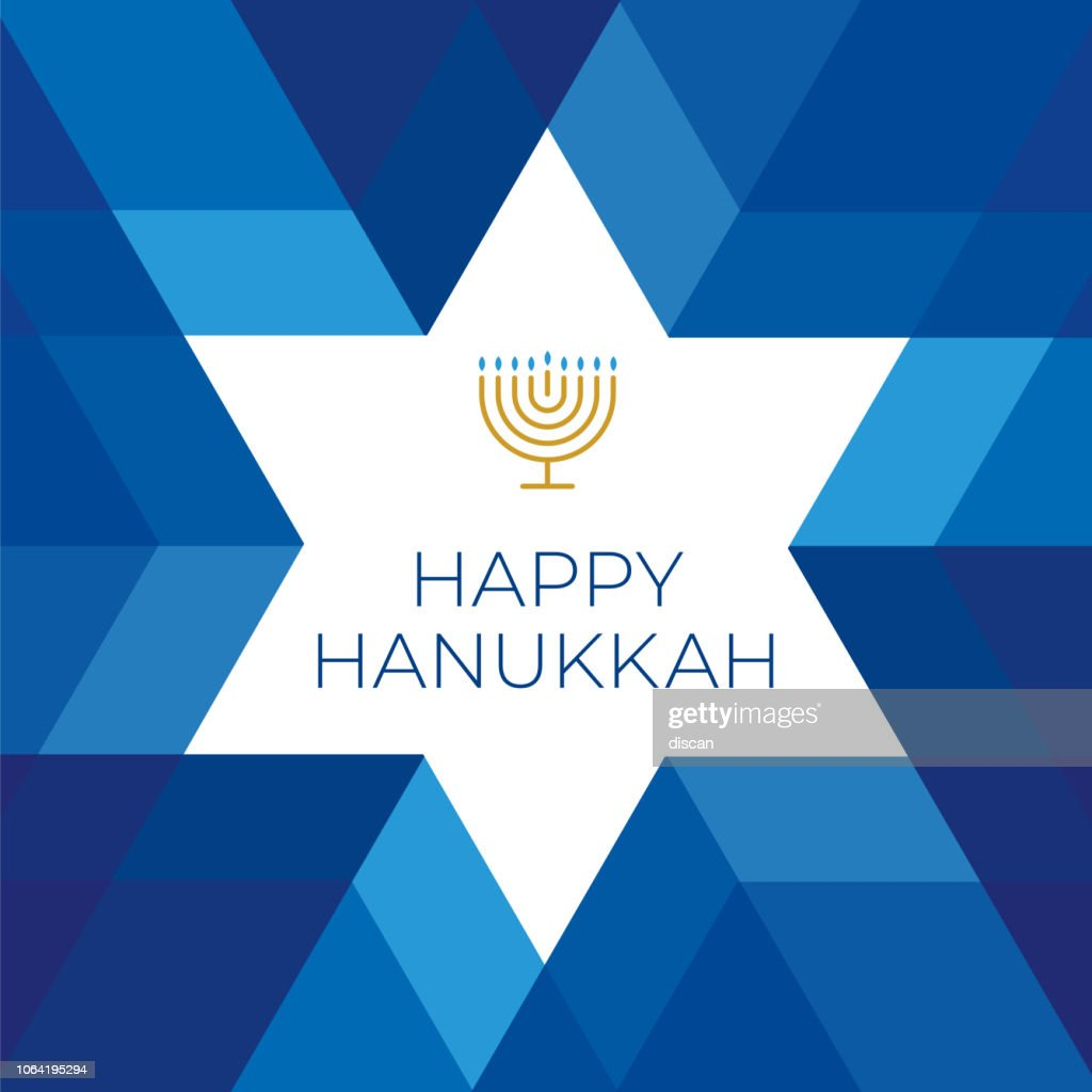 Happy Hannukkah card template with star on blue background : stock illustration