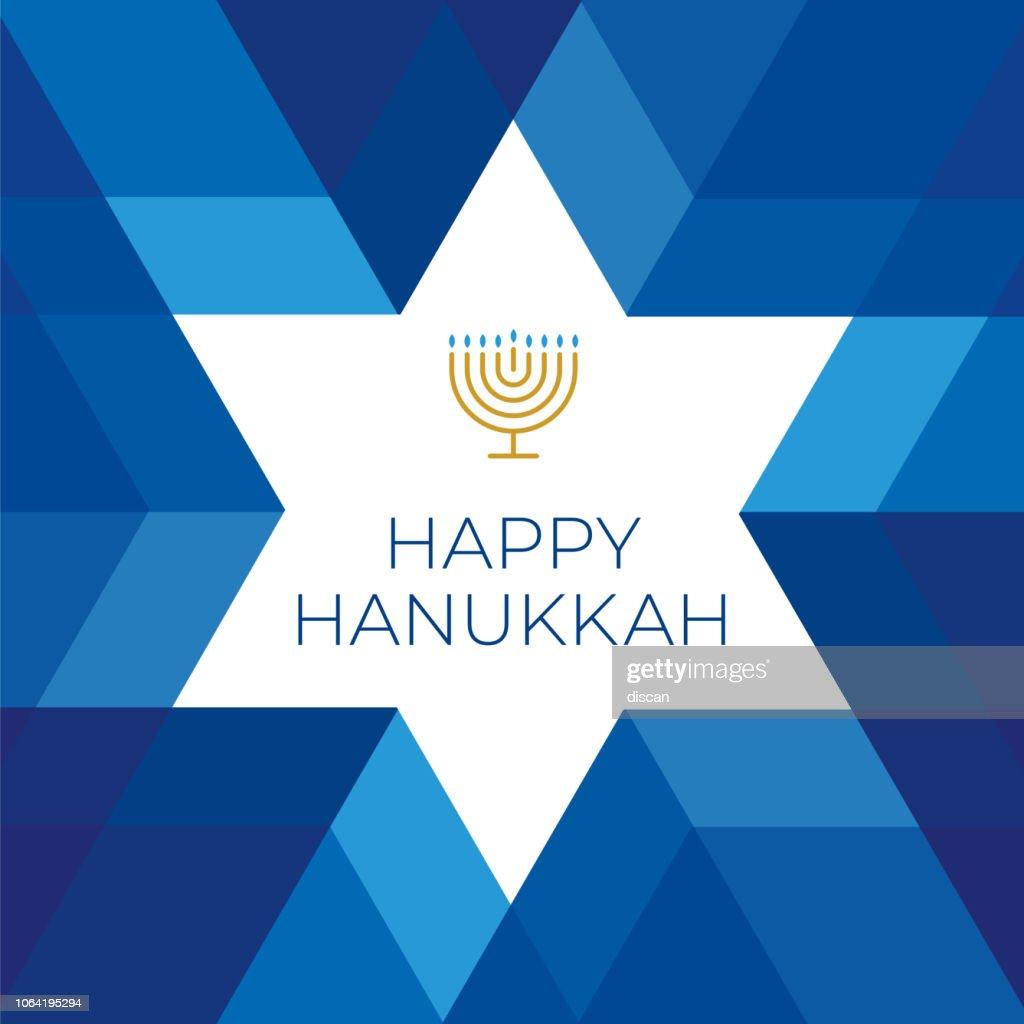Modelo de cartão feliz hanuka com estrelas no fundo azul : Ilustração