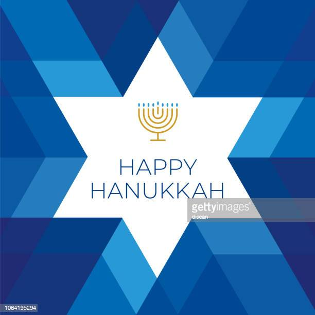 happy hannukkah card template with star on blue background - tradition stock illustrations