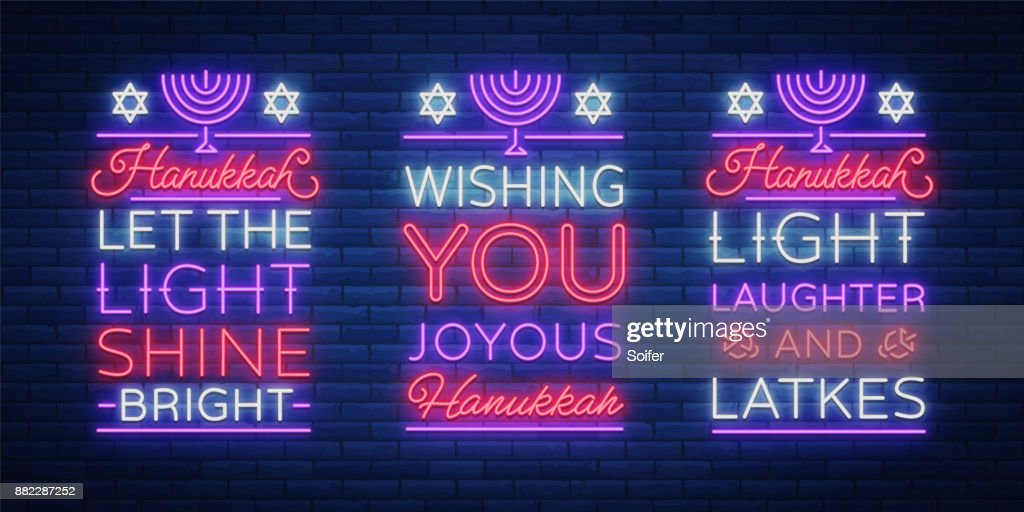 Happy hanukkah a greeting card collection in a neon style vector happy hanukkah a greeting card collection in a neon style vector illustration neon luminous text on the subject of chanukah m4hsunfo