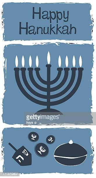 happy hanukkah and menorah, dreidel, gelt - hanukkah stock illustrations, clip art, cartoons, & icons
