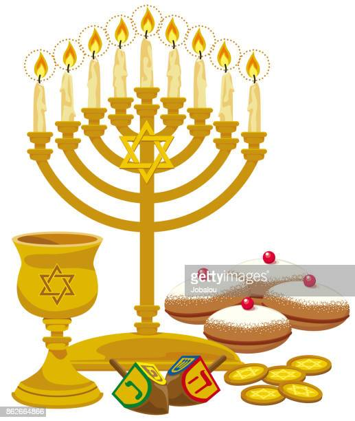 happy hanukkah elements - dreidel stock illustrations, clip art, cartoons, & icons