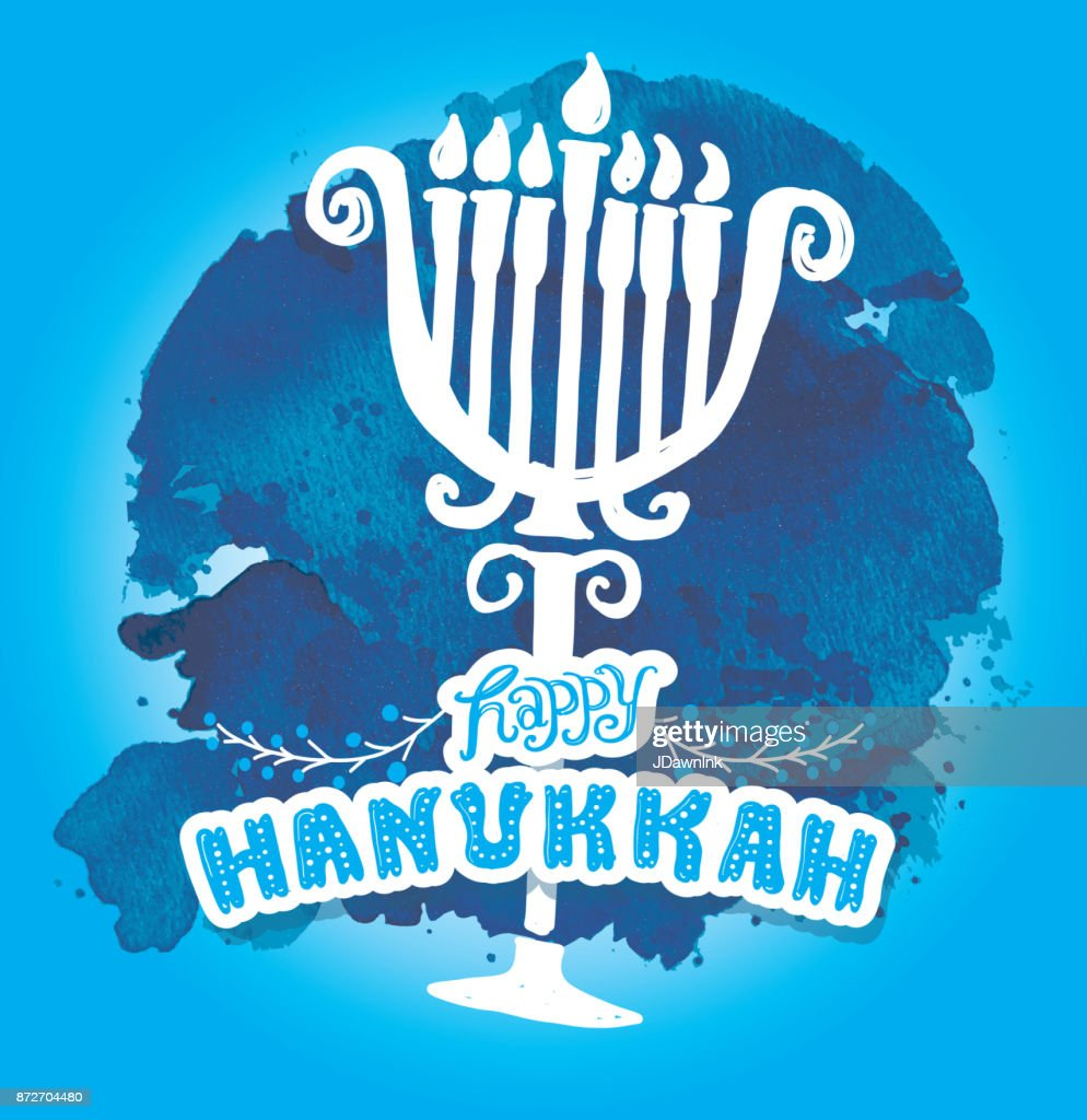 Happy hanukkah greeting card design watercolor template vector art happy hanukkah greeting card design watercolor template vector art m4hsunfo