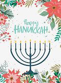 Happy Hanukkah greeting cards, flyer, poster
