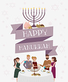 Happy Hanukkah greeting or invitation poster with group of people celebrating at the table