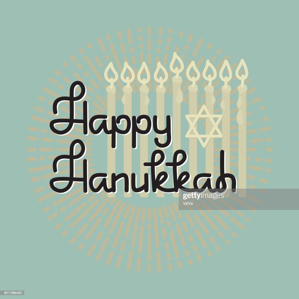 Happy Hanukkah. Handwritten word Hanukkah, candles and star