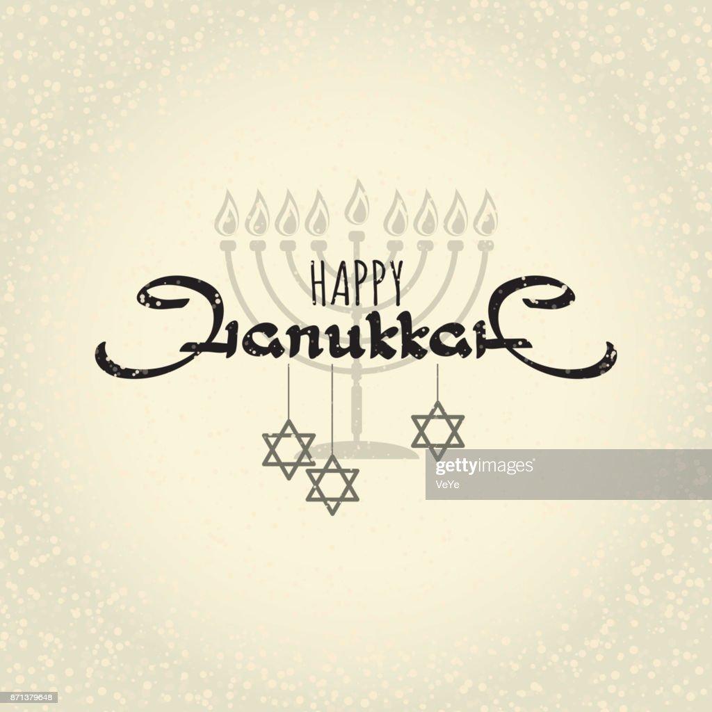 Happy Hanukkah. Handwritten word Hanukkah, menorah and star.