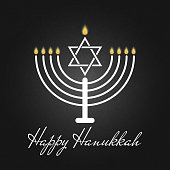 Happy Hanukkah is a Jewish holiday traditional poster or greeting card the rededication of the Holy Temple on the black background. The festival lights banner, candelabrum with candles and David star.