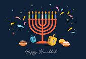 Happy Hanukkah, Jewish Festival of Lights background for greeting card, invitation, banner with Jewish symbols as dreidel toys, doughnuts, menorah candle holder. Vector illustration