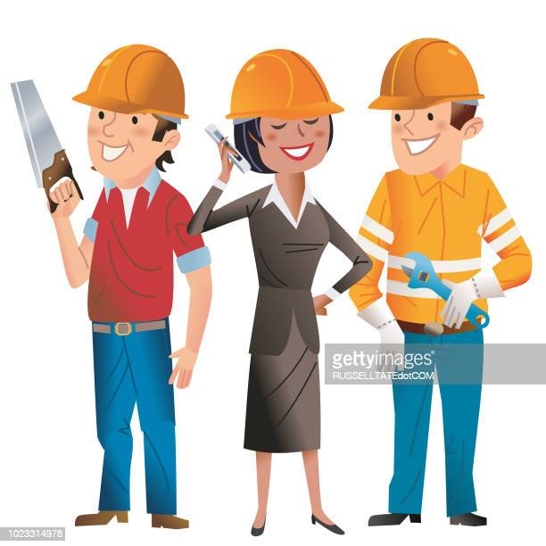 happy hard hat folks - three people stock illustrations