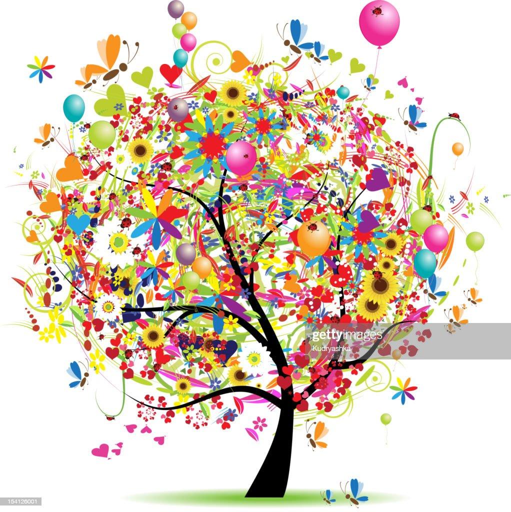 Happy holiday, funny tree with baloons