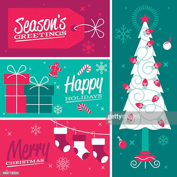 happy holidays and merry christmas seasonal design banners - gingerbread man stock illustrations