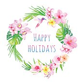 Happy holidays and tropical flowers vector design frame
