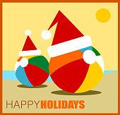 happy holidays beach balls