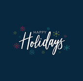 Happy Holidays Calligraphy Vector Text With Hand Drawn Snowflakes Over Dark Blue Background