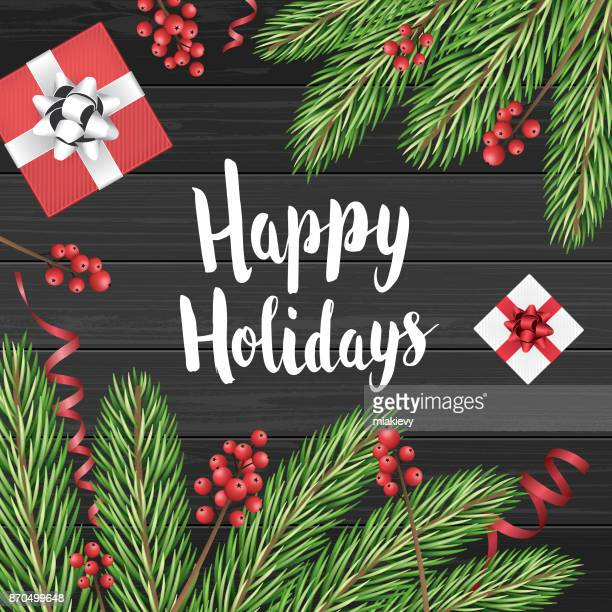 happy holidays card with christmas decoration - happy holidays stock illustrations, clip art, cartoons, & icons