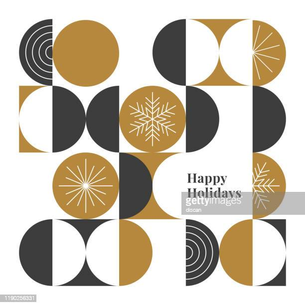 happy holidays card with modern geometric background. - gold circle stock illustrations