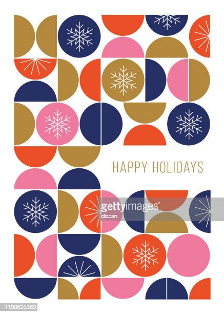 happy holidays card with modern geometric background. - greeting card stock illustrations