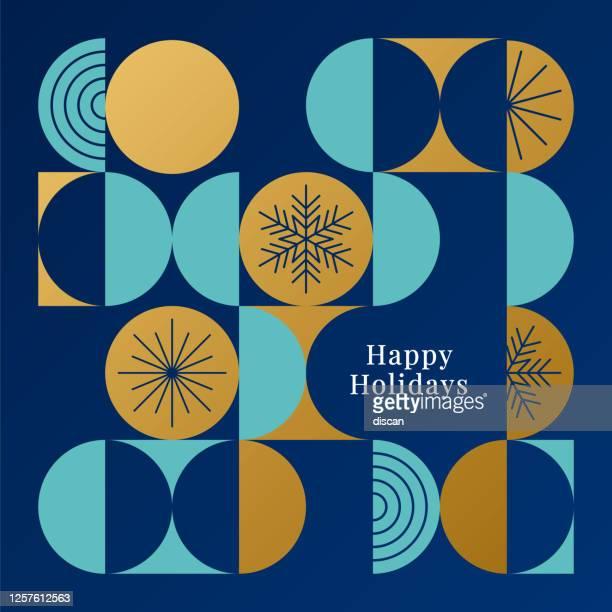 現代の幾何学的背景を持つ幸せな休日カード。 - 暦月点のイラスト素材/クリップアート素材/マンガ素材/アイコン素材
