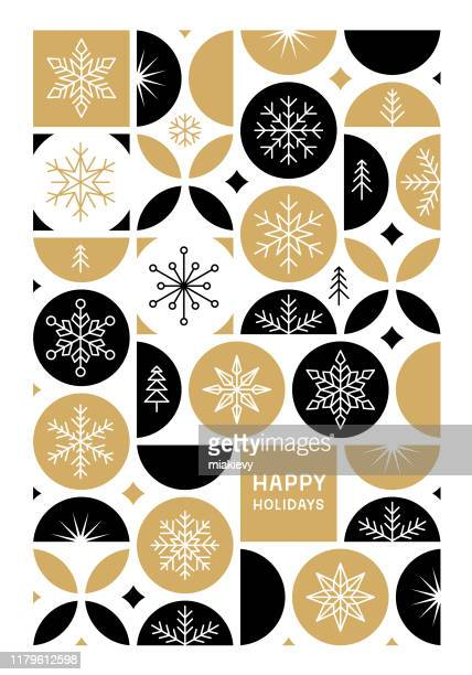 happy holidays card with snowflakes - happy holidays stock illustrations, clip art, cartoons, & icons