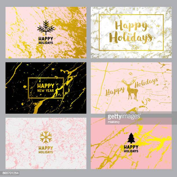 happy holidays cards on marble backgrounds - happy holidays stock illustrations, clip art, cartoons, & icons